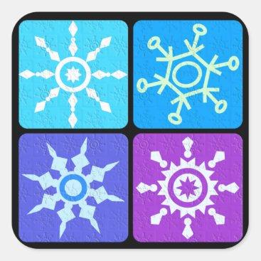 Winter Snowflake Collage Square Sticker