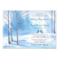 Winter Wedding Invitation Watercolor Trees Rabbits