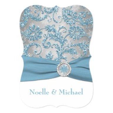 Winter Wonderland, Crystal Buckle Wedding Invite 2