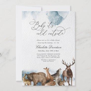 Winter Woodland Animals Cold Boy Baby Shower  Invitation