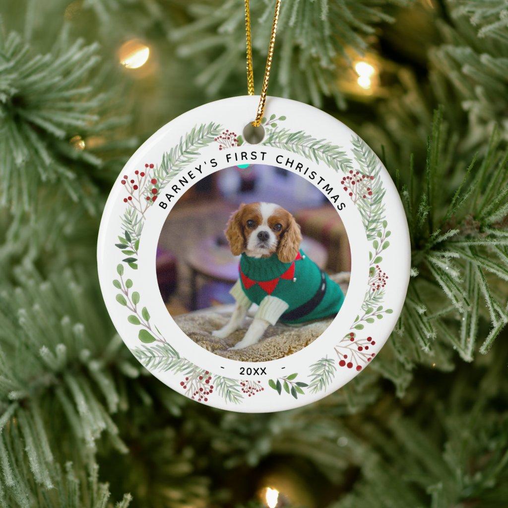 Winter Wreath Dog's Photo Christmas Ceramic Ornament