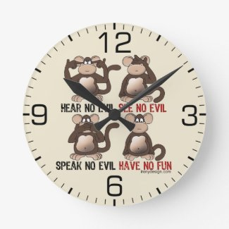 Wise Monkeys Humour Round Clock