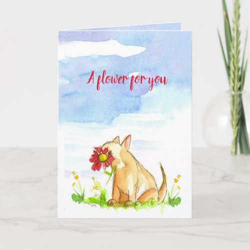 Wish You A Happy Day Flower For You Dog Card