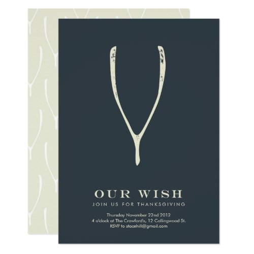 Wishbone Thanksgiving Invitation // Navy