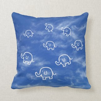 Wispy Cloud Elephants Throw Pillow