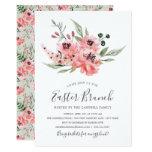 Wistful Pink Flowers Easter Brunch Invitation