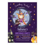 Witch Halloween Kids Birthday Party Invitation