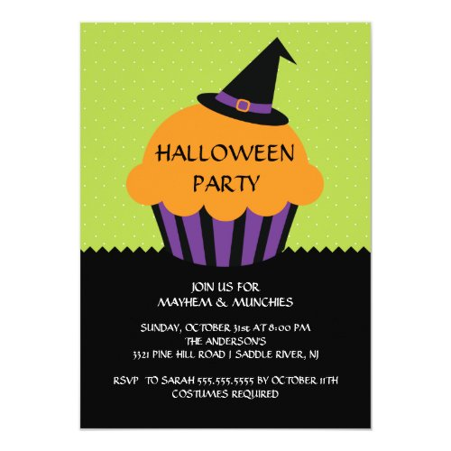 Witch Hat Cupcake Halloween Party Invitation