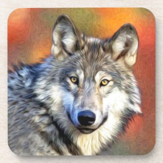 Wolf Art Painting Drink Coasters