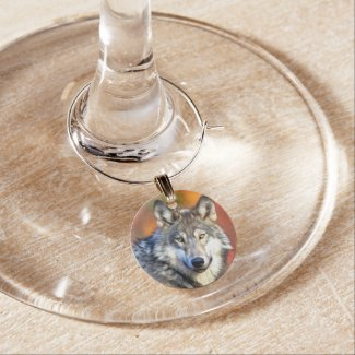 Wolf Art Painting Wine Glass Charm