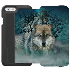 Wolf Full Moon in Fog iPhone 6/6s Wallet Case