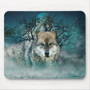 Wolf Full Moon in Fog Mouse Pad