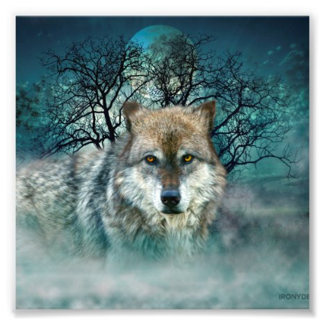 Wolf Full Moon in Fog Photo Print