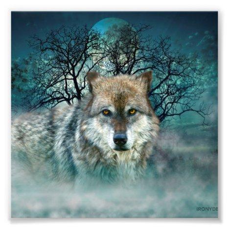 Wolf Full Moon in Fog Photo Print