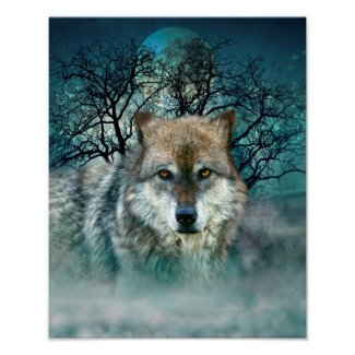 Wolf Full Moon in Fog Poster
