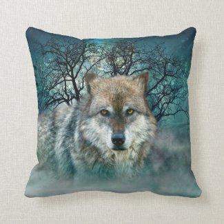 Wolf Full Moon in Fog Throw Pillow