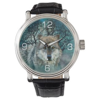 Wolf Full Moon in Fog Watches