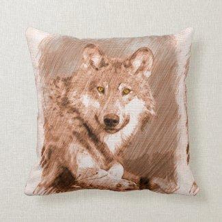 Wolf Pencil Sketch Image Art Pillows
