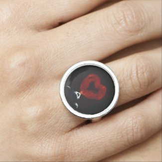 Woman Blowing A Heart Smoke ring (Art) Rings