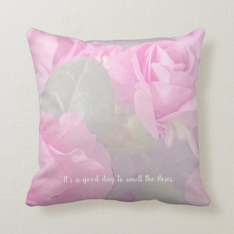 Woman Floral rosesBirthday Design  Throw Pillow