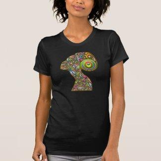 Woman Psichedelic Design Portrait T-Shirt