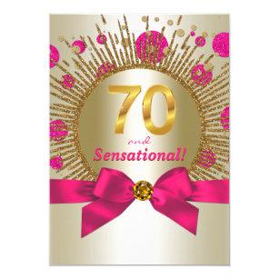 Womans 70th Birthday Party Fuchsia Gold Invitation