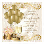 Womans Ivory and Gold Birthday Party Invitation