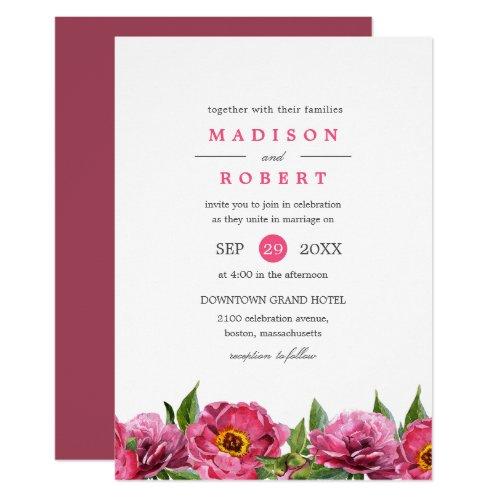 Wonderful Pink Magenta Peonies Border  Wedding Invitation