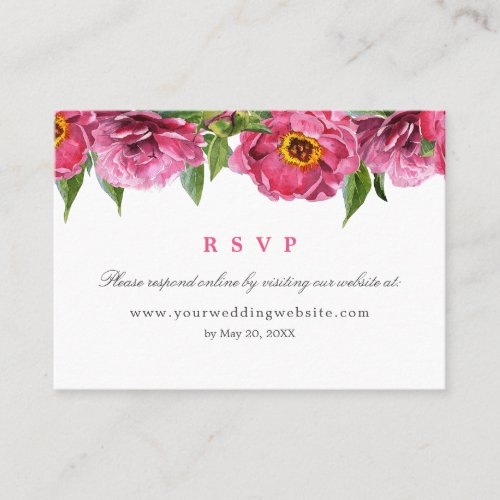 Wonderful pink peony Wedding  RSVP Online Website Business Card