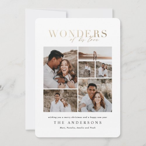 Wonders of his love multi photo gold geometric thank you card