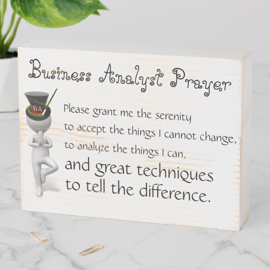 Wood Art Business Analyst Prayer Wooden Box Sign