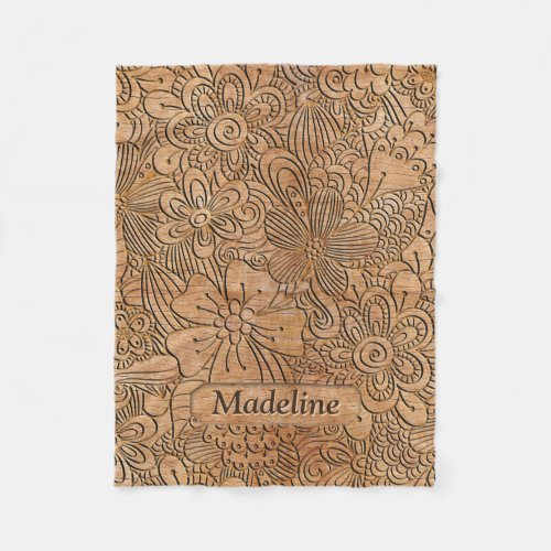 Wood Carvings Floral Pattern Personalized Fleece Blanket