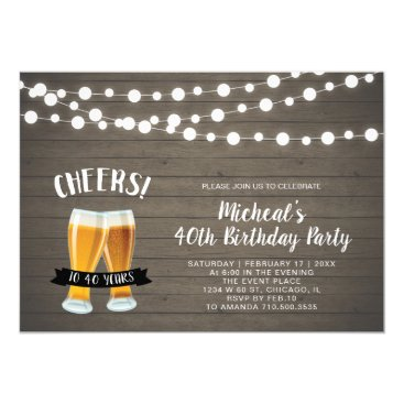 Wood Cheers, Beer 40th/50th Birthday Party Invitation
