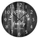 Wood Custom Family Name Rustic Farmhouse Large Clock