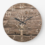 Wood Look Clock Artwork with Tree
