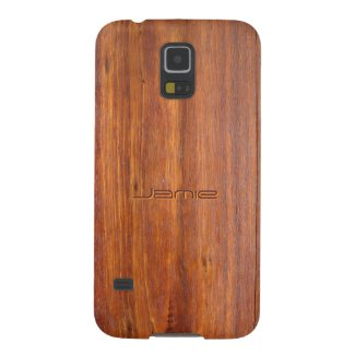 Wood look with custom engraved name galaxy s5 covers