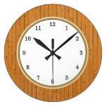 Wood Plank Arabic Numbers Large Clock