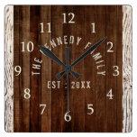 Wood Plank Family Name Farmhouse Square Wall Clock