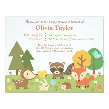 Woodland Animal Themed Baby Shower Invitations