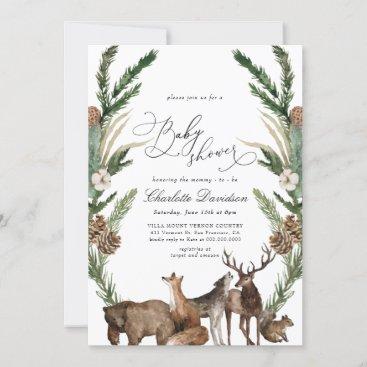 Woodland Animals Greenery Boy Baby Shower Invitation