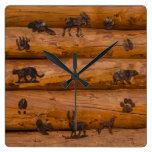 Woodland Animals on Logs Square Wall Clock