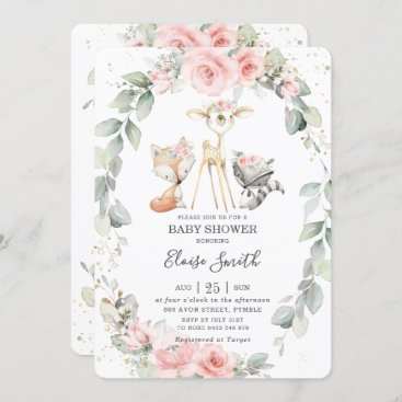 Woodland Animals Pink Floral Greenery Baby Shower Invitation