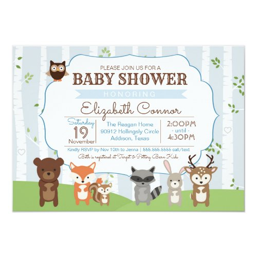 Woodland Animals Spring or Summer Baby Shower Invitation