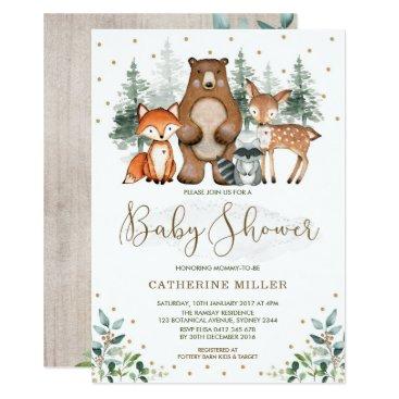 Woodland Baby Shower Forest Animals Greenery Gold Invitation