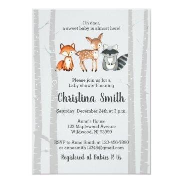Woodland Baby Shower Invitation-Watercolor Animals Invitation
