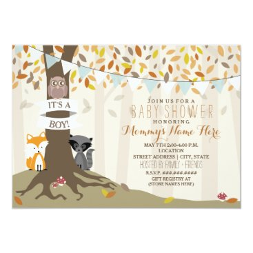 Woodland Creatures Fall Autumn Baby Shower - Boy Invitation