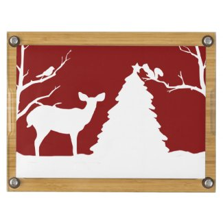 Woodland Deer and Squirrel Christmas Cheese Board Rectangular Cheese Board