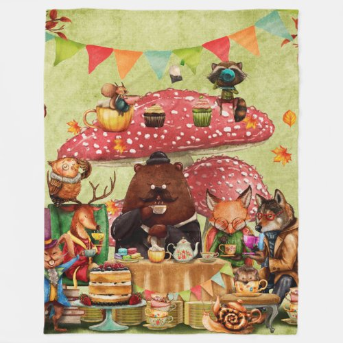 Woodland Friends at Teatime in Forest Fleece Blanket
