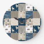 Woodland Patchwork Clock - Navy and Tan