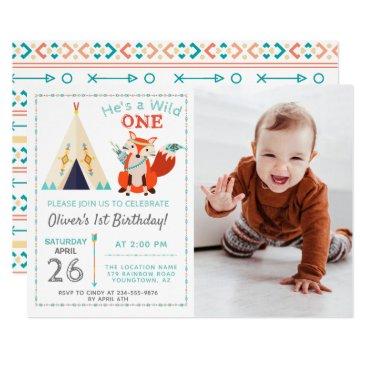 Woodland Wild One Fox Boho Boy 1st Birthday Photo Invitation